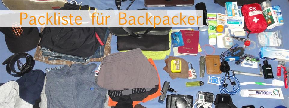Packliste Backpacking und Weltreise