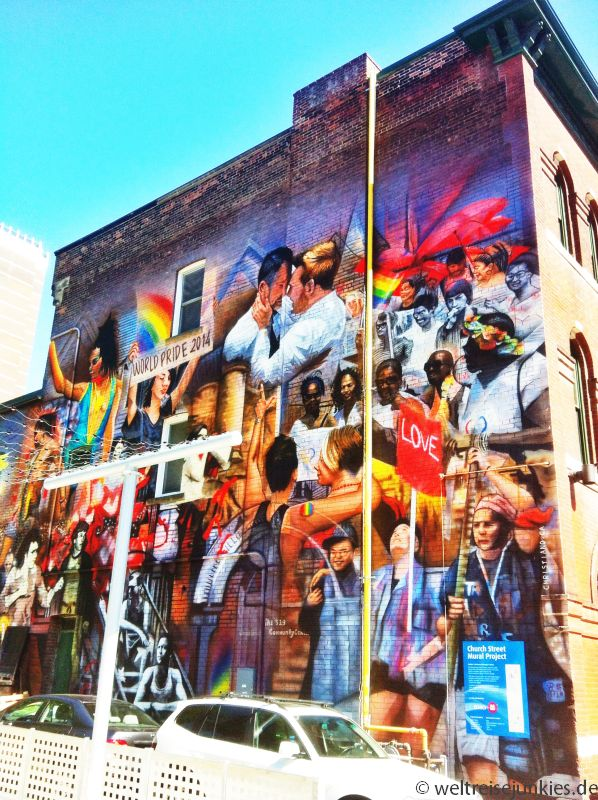 Wandbild im schwul-lesbischen Stadtviertel